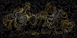 Det guld- lyckliga nya året 2017 för uttryck och tuppar på en svart tillbaka Arkivfoto