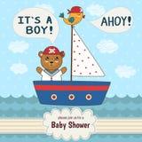 Det gulliga baby showerinbjudankortet är det en pojke Arkivbilder