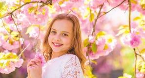 Det gulliga barnet tycker om arom av sakura på vårdag Flickan på att le framsidaanseende nära sakura blommar, defocused doft royaltyfri fotografi