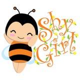 Det gulliga biet med guling blommar tecknade filmen som är passande för ungevykort Royaltyfri Bild