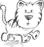 Det gulliga klottret skissar Cat Vector Arkivfoto