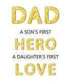 Det gulliga kortet för dagen för fader` s med guld- blänker bokstäver vektor illustrationer