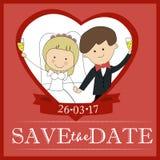 Det gulliga kortet för vektorn för mallen för designen för inbjudan för brudgum- och brudparbröllop sparar datumet Royaltyfri Foto
