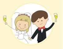 Det gulliga kortet för vektorn för mallen för designen för inbjudan för brudgum- och brudparbröllop sparar datumet Arkivfoto