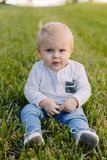 Det gulliga och förtjusande unga lilla barnet behandla som ett barn pojken som spelar i trädgårdgräsplangräset och ler på kameran fotografering för bildbyråer