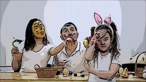 Det gulliga paret colorizing sig med en hj?lp av p?skm?larf?rg-borsten Deras dotter s?ger: ?Skam p? dig har jag fullvuxet