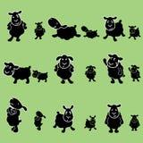 Det gulliga svarta fåret poserar designuppsättningen stock illustrationer