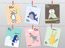 Det gulliga zooalfabetet med roliga djur, bokstäver, djurt alfabet, lär att läsa, vektorillustrationer vektor illustrationer