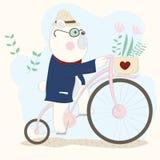 Det gulligt behandla som ett barn björnen på cykeln Hand dragen tecknad filmstil Arkivfoto