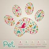 Det gulligt idérika djuret och älsklings- shoppar infographic symbolsbroschyrbann Arkivfoto