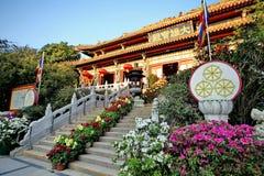 Buddistiskt tempel i Hong Kong Arkivbilder