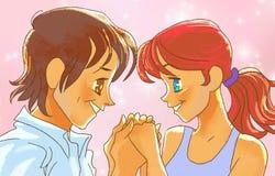 Det härliga animeparet rymmer händer Royaltyfria Foton