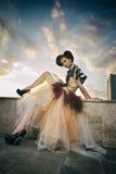 Det härliga barnet modellerar i bilden av Cinderella Fotografering för Bildbyråer