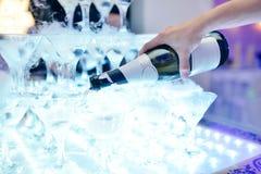 Det härliga bröllopparet häller champagne inomhus Royaltyfri Foto