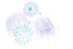 Det härliga färgrika fyrverkerit isolerade skärm för berömslump Arkivfoton