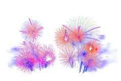 Det härliga färgrika fyrverkerit isolerade skärm för berömslump Fotografering för Bildbyråer