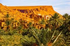 Det härliga landskapet av gömma i handflatan oasen nästan Tinghir, Marocko, Afrika arkivfoton