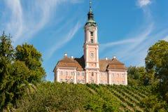 Det härliga landskapet med vinrankor och träd som förbiser pilgrimsfärden, kyrktar i Birnau arkivbild