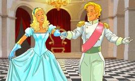 Det härliga lyckliga paret dansar Fotografering för Bildbyråer