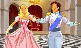 Det härliga lyckliga paret dansar i korridoren Arkivbilder