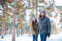 Det härliga lyckliga paret i vinter beklär att gå utomhus Royaltyfri Foto