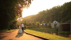 Det härliga precis gifta paret med ballonger som går på den guld- hösten, parkerar och kysser slappt på guld- solnedgång arkivfilmer
