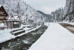 Det härliga vinterberg landskap De rumänska Carpathiansna Royaltyfri Foto