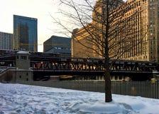 Det högstämda drevet för `-el-` passerar över Chicagoet River och en snö täckte Riverwalk i vinter royaltyfri bild