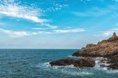 Det Haeundae strandhavet är Busan ` s som är populärast i Korea Arkivfoton