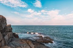 Det Haeundae strandhavet är Busan ` s som är populärast i Korea Fotografering för Bildbyråer