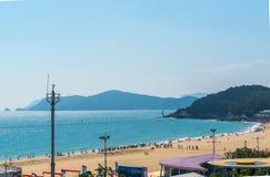 Det Haeundae strandhavet är Busan ` s som är populärast i Korea Arkivbild