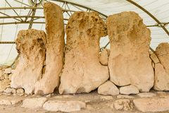 Det Hagar Qim tempelkomplexet grundar på ön av Malta Fotografering för Bildbyråer