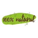 Det handskrivna bokstävertecknet med text som är naturlig för organiska produkter, märker eller förser med märke stock illustrationer