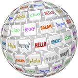 Det Hello sfärordet belägger med tegel globala språkkulturer Arkivbild