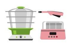 Det hem- gröna hjälpmedlet för den dubbla kokkärlet som isoleras på vit utrustning för bakgrundsmatlagningkök, och yoghurtelkraft royaltyfri illustrationer