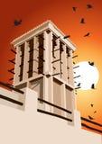 Det historiska vindtornet och fågelvektorillustrationen Dubai, förenar Royaltyfri Bild
