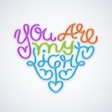 Det hjärta formade uttrycket är du mitt ljus Handskriven bokstäverdesign Arkivbild
