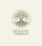 Det holistiska terapiträdet med rotar på organisk pappers- bakgrund Naturligt begrepp för Eco vänligt medicinvektor royaltyfri illustrationer