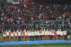 Det Hong Kong fotbollslag i östlig asiat spelar 2009 Arkivfoto