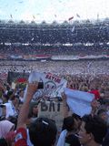 Det hundratusentals folket deltar i Jokowien - den mor'rufAmin aktionen i Senayan royaltyfri fotografi