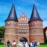 Det huvudsakliga tornet i LÃ-¼ beck, Tyskland Fotografering för Bildbyråer