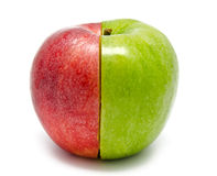 Det idérika äpplet som kombineras från halva två Arkivbild
