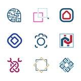 Det idérika pusslet redigerar den framtida logoen för företaget för utveckling för IT-programvaruteknologi vektor illustrationer