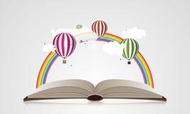 Det idérika begreppet - öppna boken med luftballonger också vektor för coreldrawillustration Royaltyfri Bild