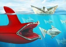 Det idérika finansbegreppet, handväska fångar pengar i vatten Royaltyfri Fotografi