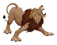 Det ilskna lejonet är rytande stock illustrationer