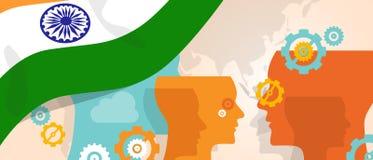 Det Indien begreppet av tänkande växande innovation diskuterar storma för hjärna för land framtida under den olika sikten som för royaltyfri illustrationer