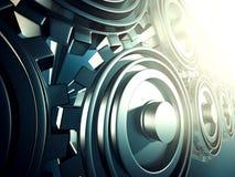 Det industriella metalliska funktionsdugliga kugghjulet utrustar bakgrund Fotografering för Bildbyråer
