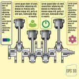 Det infographic baserat för begrepp på vevaxeln reparation Infograp Arkivfoton