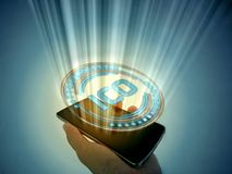 Det initiala myntet som erbjuder ICO-hologrammet, ledde poppar ut från mobiltelefonen vektor illustrationer